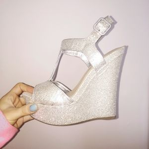 Silver, sparkle, wedges